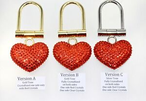 Red Heart Key Rings Crystallized with Swarovski Crystals Easy Tension Closure