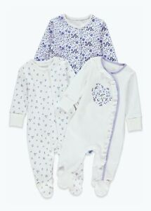 Baby Girls Matalan Sleepsuits Blue White Floral Pretty 3 Pack Cotton Baby Grows