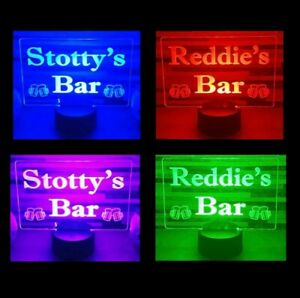 Personalised LED Bar Sign Man Cave Home Light Up Drink Pub Custom Any Name