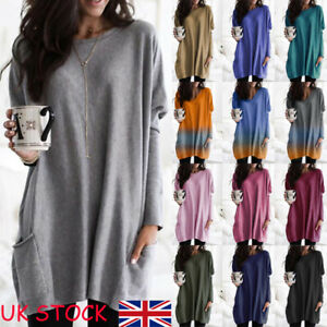 PLUS SIZE Women Long Sleeve Jersey Tunic Top Ladies Baggy Jumper Pullover Blouse