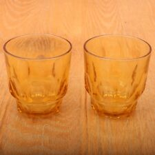 54ae04c3523 2 Vintage Amber Thumbprint Pattern Glass Cups Drinking Glasses