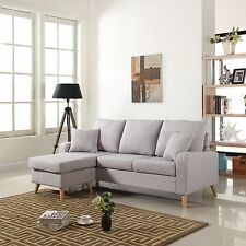 Modern Fabric Small Space Sectional Sofa w/ Reversible Chaise in Light Grey