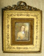 Antique Miniature Bronze BOW Top Frame Portrait Painting handpainted signed