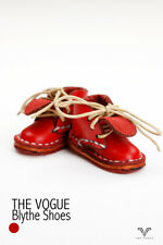 BL1001-01 The Vogue Red Leather Short Boots Shoes for Blythe Azone Pullip