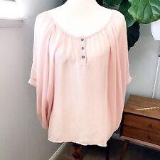 Women's Nordstrom Lush Scoop Neck Pink Semi Sheer Hi/Lo Hem Blouse Top Size M