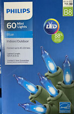 New Philips 60 ct LED Mini String Lights Blue Indoor/Outdoor B8