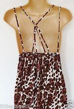 BNWT NEXT summer boutique hi low midi maxi brown cheescloth white sun dress