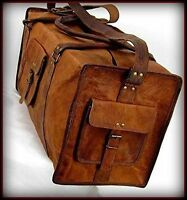 New Men's duffel genuine Leather large vintage travel gym weekend overnight bag