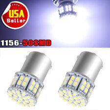 2x White 7000K 1156 BA15S 50SMD LED Light Bulbs Turn Signal Backup Reverse 1141