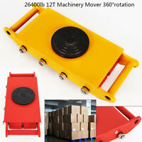 12T Heavy Machine Dolly Skate Roller Machinery Mover w/ 360° Rotation Cap USA