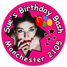20 x BIG BIRTHDAY BASH BADGES -  PERSONALISED  WITH PHOTO, DATE, NAME & COLOURS