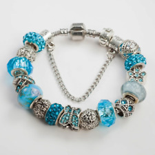 Sara Butterfly Charm Bracelet Silver Plated European Glass Beads - Blue