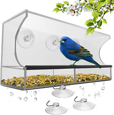 Window Bird Feeder with Strong Suction Cups and Seed Tray, Outdoor Birdfeeders f