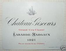 2667/ ÉTIQUETTE VIN CHÂTEAU GISCOURS 1921 GCC LABARDE MARGAUX MÉDOC BORDEAUX
