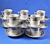 Demitasse Tea Cup & Saucer Set White China with Blue Floral & Gold Trim