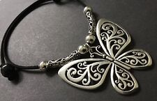 Bijoux  suede statement choker necklace with large antique silver butterfly