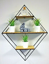 Diamond Shaped Wall Hanging Shelf Unique Display Unit Industrial Storage Rack