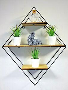 Diamond Shaped Wall Hanging Shelf Unique Display Unit Industrial Storage Rack