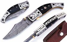 "Buffalo Horn Damascus Steel Bolster Handle 7.5"" Folding Pocket Knife W/Case"