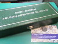 ROYAL MINT UK Britannia Collection Silver Proof Four 4 Coin Empty Box FROM 1997