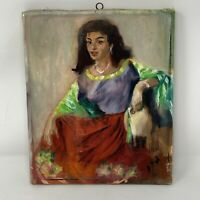 """Vintage Original Oil Painting On Canvas Mexican Young Woman Portrait 10"""" X 12"""""""