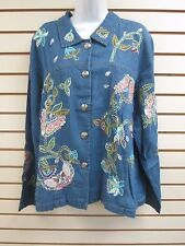 Indigo Moon Butterfly Embroidery Shirt / Jacket - Extra Large XL - NEW
