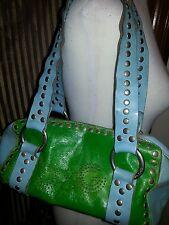 Hearts ♡ D&G Dolce & Gabbana leather Satchel shoulder bag Green/Blue Dual Straps