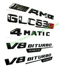 """AMG+GLC63 S+4MATIC+V8 BITURBO"" Gloss Black Trunk Emblem Badge For Mercedes-Benz"