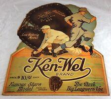 LOU GEHRIG HALL OF FAME BASEBALL PLAYER ADVERTISING KEN-WEL GLOVES PAPER SIGN