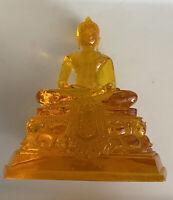 Lucite Buddha Statue Figurine Mid Century Modern Translucent Amber Acrylic