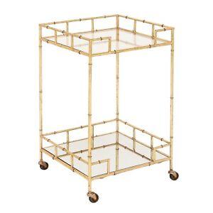 Urban Designs Gold Leaf 2-Shelf Square Metal Mirror Mobile Bar Cart