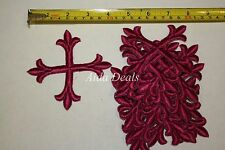 "(12 pcs) Iron Embroidered Religious Patch Red color Cross 4""x4"" (Design #0012)"
