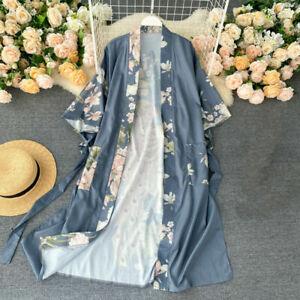 Damen Japanische Kimono Mantel Blumenmuster Yukata Oberbekleidung Lang Top Seide