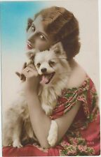 1927 VTG LADY & DOG RPPC PHOTO POSTCARD HAND COLORED FASHION ANTIQUE ART DECO