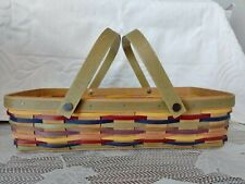 Longaberger Bright Multi Color Striped Rectangle Basket With Handles Bread?