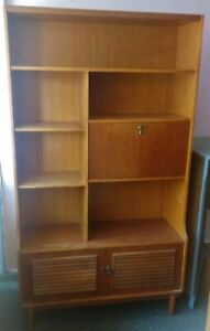 Vintage Teak open bookcase shelving unit with drawers in need of light TLC