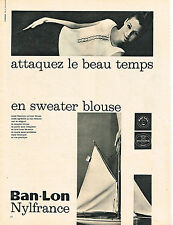 PUBLICITE ADVERTISING  1960   BAN-LON  NYLFRANCE    tissus