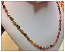 Genuine Watermelon Tourmaline Gemstone Necklace, Gold, 22 Inches