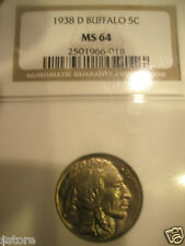 WOW SUPER NICE AND  MS-64 CERTIFIED NGC 1938-D 5 CENTS BUFFALO NICKEL
