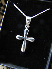 BRIDESMAIDS PRESENT GIFT NECKLACE CROSS MODERN STERLING SILVER 925 CHAIN BOX