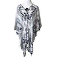 D&Y Womens Coverup Topper Cotton Poncho Blue White Tassle Gauze One Size