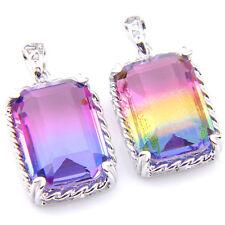 Top Sale ! Wholesale Lots 2 Pcs Bi Color Tourmaline Gemstone Silver Pendant