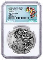 2019 Rwanda African Ounce Shoebill 1oz Silver RWF NGC MS70 FR Exclusive SKU56554
