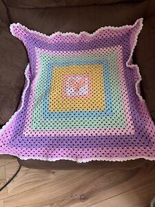 Handmade crochet baby blanket/car seat/pram/crib Pastel Sweetheart Granny Square