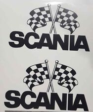 SCANIA TRUCK LOGO CHEQUERED FLAG STICKER V8 VABIS TOPLINER SCANNY TRUCK DRIVER
