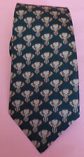 Jim Thompson 100% silk dark green tie with pale green elephant patterning