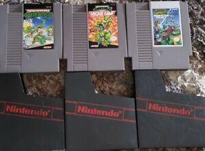 Authentic Nintendo NES Teenage Mutant Ninja Turtles 1 2 3 Game Lot TMNT Bundle