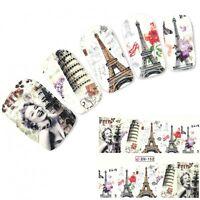 Tattoo Nail Art Eiffelturm Paris Marilyn Aufkleber Nagel Sticker