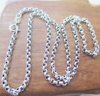 24 inch Pure 925 Sterling Silver Necklace 3mm Rolo Link Chain Necklace S925
