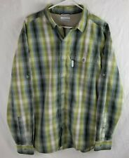 Columbia Mens Large Green Plaid Vented Outdoors Long Sleeve Button Up Shirt